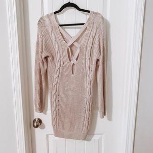 M/L tan crisscross back sweater